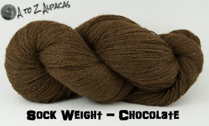 Chocolate Sock Weight Alpaca Yarn from A to Z Alpacas - Made in Canada!