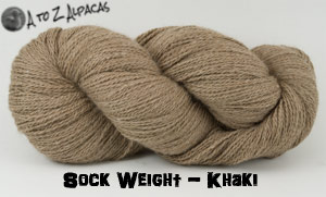 Khaki Sock Weight Alpaca Yarn from A to Z Alpacas - Made in Canada