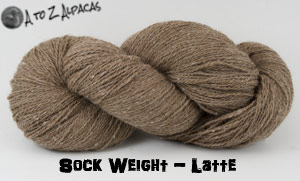 Latte Colored Sock Weight Alpaca Yarn from A to Z Alpacas - Made in Canada