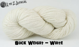 White Sock Weight Alpaca Yarn from A to Z Alpacas - Made in Canada!