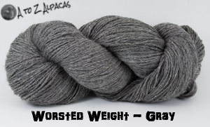 Gray  Worsted Weight Alpaca Yarn - Made in Canada